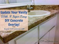 Hometalk | Super Easy Concrete Overlay Vanity Makeover