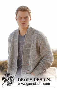 """Knitted DROPS men's jacket with shawl collar in 2 strands """"Fabel"""". Size: S to XXXL. ~ DROPS Design"""