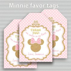 Pink and Gold Minnie favor tags gift tags Party Decorations
