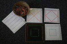 Geoboard Cards Children duplicate the geometric design math centers Teaching Geometry, Teaching Shapes, Teaching Math, Preschool Shapes, Teaching Ideas, Pre Reading Activities, Math Activities For Kids, Fun Math, Homeschool Math