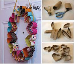 Paper towel tubes cut into slices; squished to make heart shapes; line them with scrapbook paper; glue together to form wreath