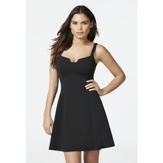 Justfab Little Black Dresses Novelty Neckline Fit And Flare ($40) ❤ liked on Polyvore featuring dresses, apparel & accessories, black, little black dresses, lbd dress, fit flare dress, justfab, embellished dress and little black dress