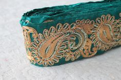 1 YardDark Green Fabric TrimGolden Paisley by ArtsyCraftsyShoppe