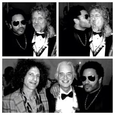 Robert Plant and Jimmy Page of Led Zeppelin hanging out with Lenny Kravitz and Craig Ross at the Kennedy Center Honors.