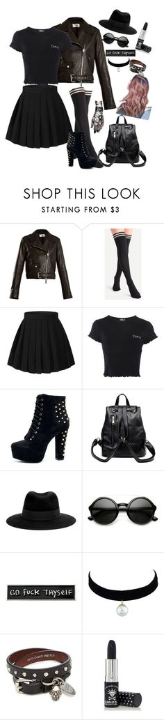 """Grunge fashion"" by esii-li ❤ liked on Polyvore featuring The Row, Topshop, Maison Michel, ZeroUV, RIPNDIP, Alexander McQueen and Manic Panic NYC"