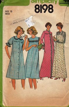 """Retro Loose-Fitting Nightgown and Robe  -  1970's Vintage Women's Pattern  - Size 12 Bust 34""""  - UNCUT - Sewing Pattern Simplicity 8198 by Sutlerssundries on Etsy"""