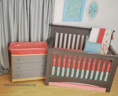 Aqua and Melon fabrics with floral crib blanket