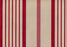 Red Ticking Linen Fabric Printed red ticking stripe on light beige linen