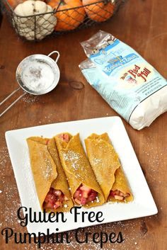 These Gluten-Free Pumpkin Crepes with Warm Apple Filling look perfect for breakfast on Saturday. | Scratch Mommy