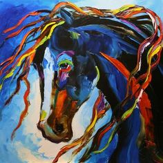 <3 'Blue Horse' Modern Equine Art Contemporary Horse Daily Oil Painting by Texas Artist Laurie Pace -- Laurie Justus Pace