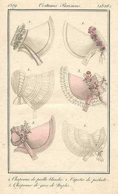 ✍ Jane Austen ✍  Ladies bonnets of Jane Austen's era, c.1819