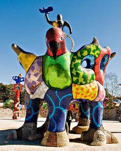 """sculpture by Niki de Saint Phalle called """"Queen Califa,Egg Fountain & Eagle Throne in Escondido, California"""