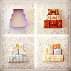 Wedding cake cookie cutter into luggage and packages cookies