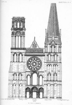 Drawing Of Western Frontispiece Cathedral Chartres France