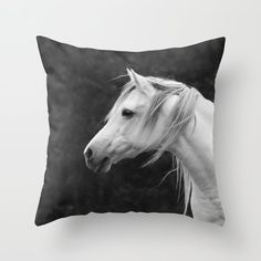 Arabian horse in black and white Throw Pillow by Linda Wooderson - Cover x with pillow insert - Indoor Pillow White Throws, White Throw Pillows, Fluffy Pillows, Throw Cushions, Designer Throw Pillows, Down Pillows, Floor Pillows, Horse Bedding, Western Bedrooms