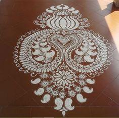 Kolam Designs - Pooja Room and Rangoli Designs Rangoli Colours, Rangoli Patterns, Rangoli Ideas, Indian Rangoli, Kolam Rangoli, Alpona Design, Latest Rangoli, Wallpaper Nature Flowers, Pichwai Paintings