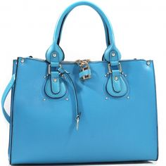 2a6c789fe50b Studded Fashion Tote Bag with Lock Accent   Bonus Strap blue