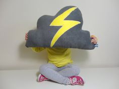 CLOUD PILLOW Cushion With Bright Yellow Flash of by Claireoncloud9