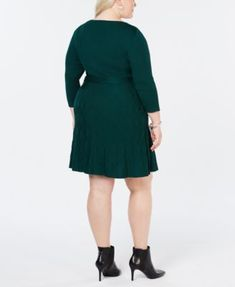 f40952db83c Ny Collection Plus Size Fit & Flare Sweater Dress - Black 3XP Plus Size  Sweater