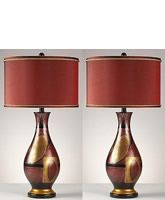 Garnet Set of 2 Table Lamps Red Gold Black L244714...hmmmmmm