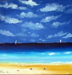 Seascape  beach painting  acrylic on canvas artwork  by Borettoart, $365.00