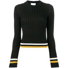 3.1 Phillip Lim 3.1 Phillip Lim Contrast Stripe Jumper ($328) ❤ liked on Polyvore featuring tops, sweaters, black, long sleeve sweater, 3.1 phillip lim sweater, woven top, long sleeve tops and jumpers sweaters
