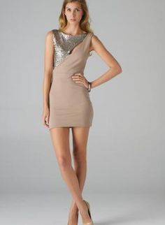 Taupe Sleeveless Cutout Dress with Sequin Embellishment,  Dress, sequin dress  sleeveless dress, Chic