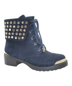 74f8920eeaacad Blue Studded Lace-Up Boot Pump Sneakers