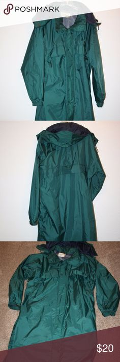 """L.L. BEAN Mens Large Rain Wind Jacket Windbreaker L.L. Bean  Excellent Condition  Rain Jacket - Windbreaker  Size:  Large  Green  Mesh Lining  Two Chest Zippered Pockets  Zip Front and Snap Closure  Hood With Drawcord and Velcro  Hood Can Be Rolled Up Under Collar  Velcro At Sleeve Hems     Chest:  55"""" (armpit to armpit then doubled)  Length:  44 3/4"""" from top of shoulder then down  Sleeve Length:   33"""" from collar  100% Nylon L.L. Bean Jackets & Coats Raincoats"""