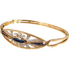 Art Déco hinged bangle bracelet with calibrated sapphires and diamonds 1.15ctw, French stamped 18K solid gold, Ca. 1920