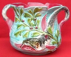 RARE AUTHENTIC ANTIQUE FRENCH ONNAING MAJOLICA FISH CACHE POT C 1880