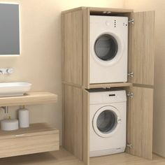Veca srl produces and sells online Column cover with doors for washing machine - Bathroom furniture - Laundry, made of wood, to cover household appliances Modern Laundry Rooms, Laundry Room Layouts, Farmhouse Laundry Room, Laundry Room Organization, Laundry In Bathroom, Small Bathroom, Downstairs Bathroom, Laundry In Closet, Outside Laundry Room