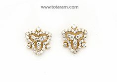 Diamond Earrings for Women in 18K Gold - DER844 - Indian Jewelry from Totaram Jewelers