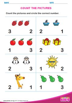 Printable math count how many for preschool & kindergarten.Kids will be able to count the pictures and circle the correct number. Help kids to learn counting easily. Worksheet For Nursery Class, Nursery Worksheets, Printable Preschool Worksheets, Worksheets For Kids, Printables, Counting For Kids, Math For Kids, Numbers Preschool, Preschool Kindergarten