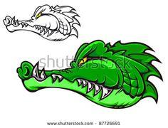 Cartoon crocodile head for tattoo or mascot design such a logo ...