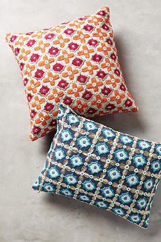 Tile-Embroidered Pillow - anthropologie.com