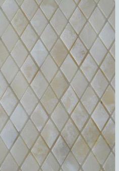 White Onyx DIAMOND Polished Mosaics Meshed on 12 X 12 Tiles for Kitchen and Bathroom Backsplash, Shower Walls