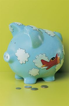 Airplane piggy bank Pottery Painting, Ceramic Painting, Pig Bank, Penny Bank, Pig Images, Personalized Piggy Bank, Airplane Party, Paint Your Own Pottery, Cute Piggies