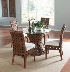 Rattan Shack Polynesian Indoor Rattan Bamboo Round Dining Table