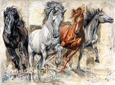 Reproductions giclées sur toile - giclée prints on canvas — Elise Genest Horse Drawings, Animal Drawings, Art Drawings, Painted Horses, Arte Equina, Art Occidental, Horse Artwork, Ouvrages D'art, Art Et Illustration