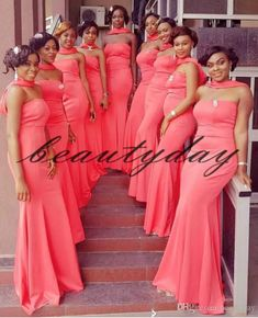 2019 African Bridesmaid Dresses For Nigerian Watermelon Wrap Maid Of Honor Gowns Formal Wedding Party Guest Dress vestidos de fiesta African Bridesmaid Dresses, Mermaid Bridesmaid Dresses, African Wedding Dress, Beautiful Bridesmaid Dresses, Lace Bridesmaids, Bridesmaid Outfit, African Fashion Dresses, African Dress, Wedding Party Dresses