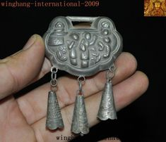 Old Chinese Silver Auspicious Double Dragon Loong Beast Necklace Pendant Amulet