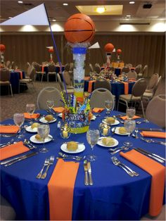 Idea of how to set up table cloths for both grad party or baseball banquet