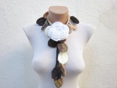 Removeable Brooch Pin Hand crochet Lariat Scarf  Brown by nurlu, $20.00