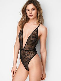 Women's Clothing Sexy Womens Long Sleeve V-neck See-through Teddy Bodysuit Leotard To Produce An Effect Toward Clear Vision