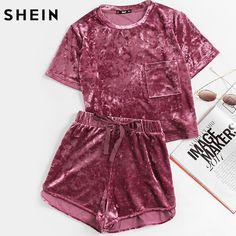 Two Piece Outfits Purple Pocket Front Crushed Velvet Top and Bow Shorts Set Sets Clothes
