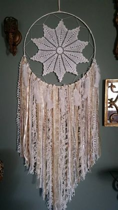 Vintage Doily Large Bohemian Dreamcatcher, Cream and Gold Wall Hanging, Shabby Chic Dreamcatcher,Elegant Cream and Gold Hoop Art, Boho Chic - pinned by pin4etsy.com