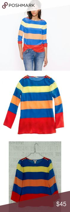 J. Crew Scoopneck Blouse in Colorblock Stripe Gorgeous 100% silk top in EUC. There is an imperfection near the tag (see photos 5 & 6) and a crease on the sleeve; both disappear when wearing top. Dry clean. No trades. Bundle + save!! J. Crew Tops Blouses