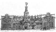 В. А. Гартман. Павильон Военного отдела на Всероссийской выставке 1872 г. в Москве. Гравюра 1870-х годов
