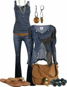 Casual outfits blue fashion moda para damas, moda y moda femenina. Komplette Outfits, Fall Outfits, Summer Outfits, Casual Outfits, Fashion Outfits, Fashion Trends, Dress Casual, Summer Clothes, Fashion Sets